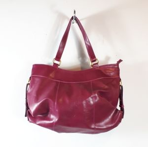 Shoulder Fucshia Handbag With Gold Trimmings